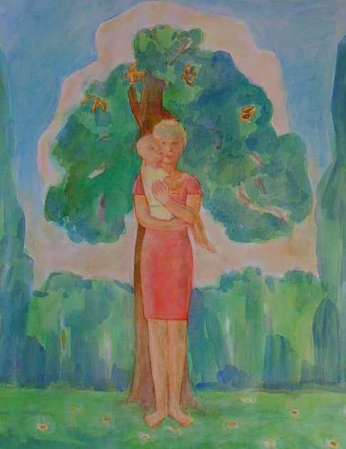 мадонна с ребенком на фоне пейзажа