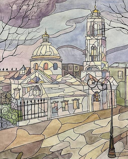 Церковь в ярких цветах