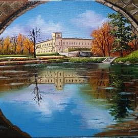 Вид на дворец из под моста