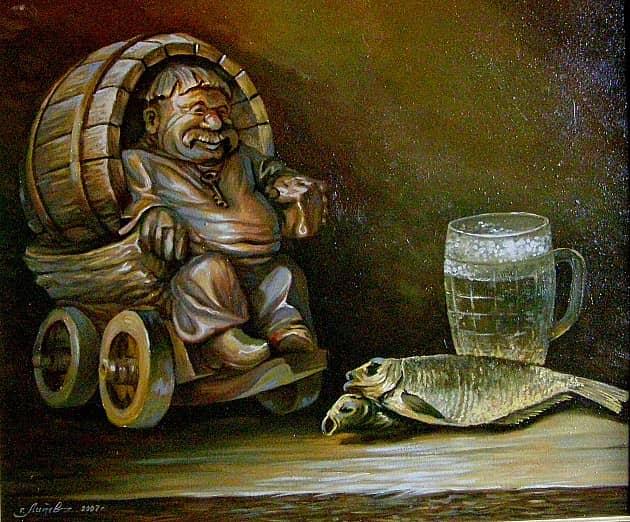 Натюрморт с сушеной рыбой