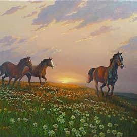 Лошади бегущие на водопой 2