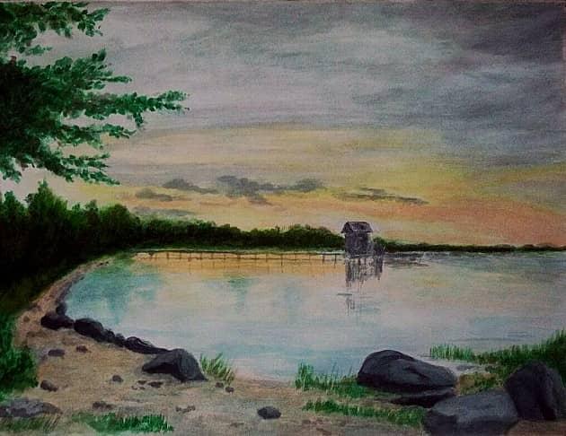 По картине А Бенуа Закат над заливом