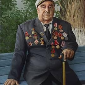 Портрет ветерана ВОВ А.И. Калашникова