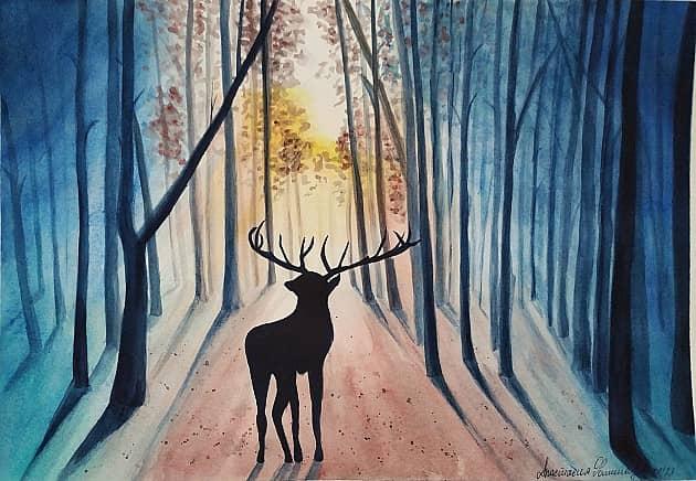 Рассвет в лесу.