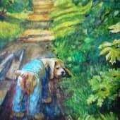 Прогулка с верным другом. (1), художник Елена Свирина