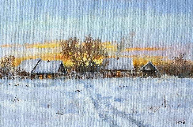 Зима в деревне. Вечер