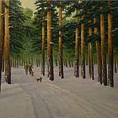 В зимнем лесу, художник Геннадий Литвиненко