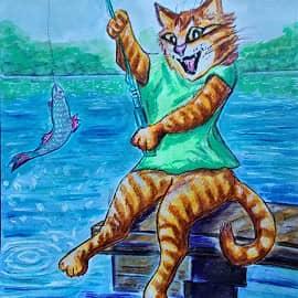 Кот - рыболов.