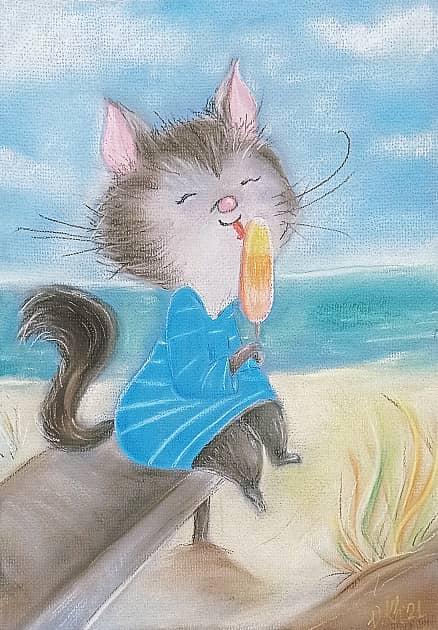 Кот с мороженым