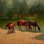 Полдень. Лошади на водопое, художник Геннадий Литвиненко