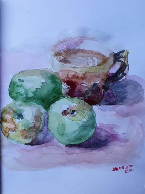 натюрморт с яблоками и чашкой