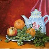 Чай с апельсинами, художник Ольга Шибанова