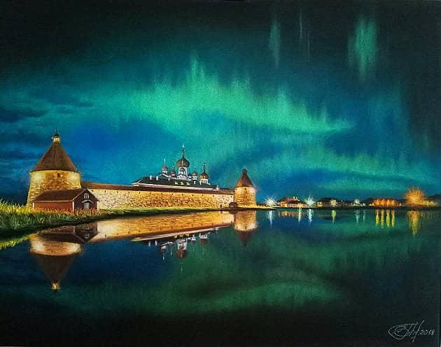 Вид на Соловецкий монастырь со Святого озера