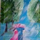 Пара под дождем (1), художник Мила