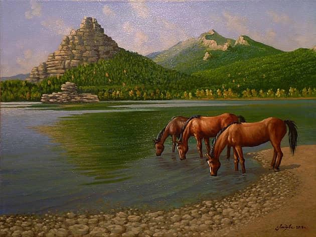Лошади на водопое. Боровое