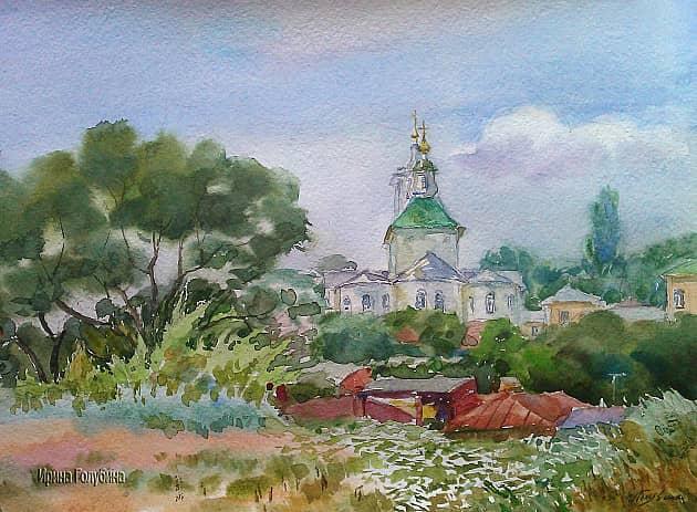 Вид на Тихвино-Онуфриевский храм.