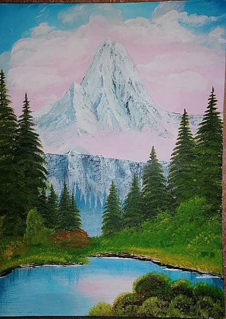 Гора в розовом облаке