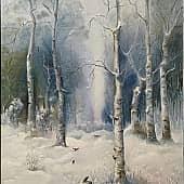 Зима на опушке леса, художник Ольга Шибанова
