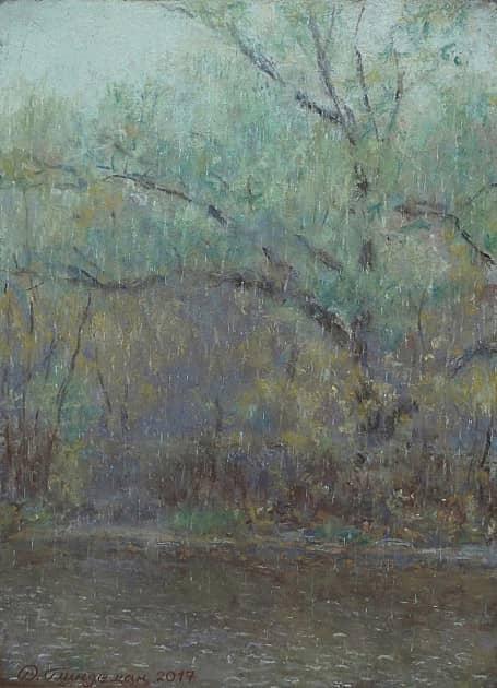 Ива под дождем