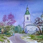 Весенний день. Вид на колокольню Спасского храма., художник Ирина Голубина