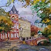 Осень в городе, художник Ирина Голубина