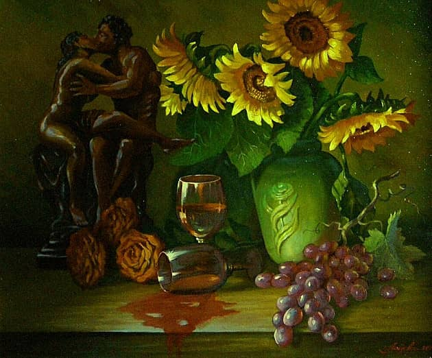 Натюрморт с пролитым вином