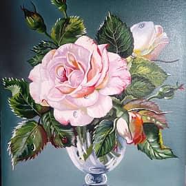 Роза в стеклянной вазе(По мот.раб.Сесиль Кенеди)