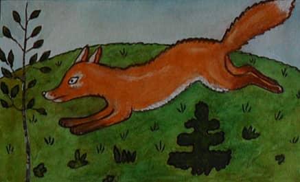 """иллюстрация к сказке """"лиса, заяц и петух"""""""