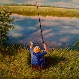 В память о моём супруге. Был рыбак и охотник.Картина 19ого года, пыталась пленэрить