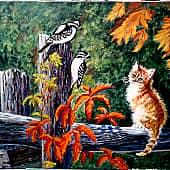 """Картина побывала на выставке под названием -""""Котовасия"""" в ТЦ г.Ахтубинска и заняла призовое место, художник Elena Salomatina"""