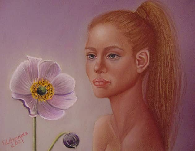 Девушка с анемоном