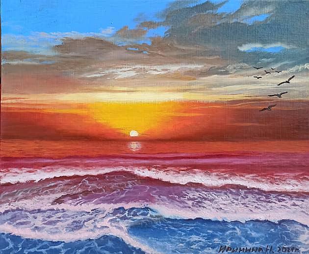 Цветной закат на море