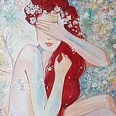 В цветущем саду, художник Валентина Худякова