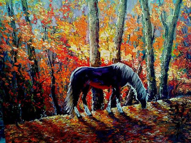 """""""Лошадь в осеннем лесу"""" (мастихин)"""